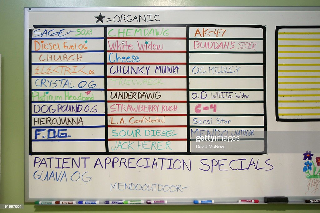 The menu at Private Organic Therapy (P.O.T.), a non-profit co-operative medical marijuana dispensary, displays various types of marijuana available to patients on October 19, 2009 in Los Angeles, California. Attorney General Eric Holder announced new guidelines today for federal prosecutors in states where the use of marijuana for medicinal purposes is allowed under state law. Federal prosecutors will no longer trump the state with raids on the southern California dispensaries as they had been doing, but Los Angeles County District Attorney Steve Cooley recently began a crackdown campaign that will include raids against the facilities. Cooley maintains that virtually all marijuana dispensaries are in violation of the law because they profit from their product. The city of LA has been slow to come to agreement on how to regulate its 800 to 1,000 dispensaries. Californians voted to allow sick people with referrals from doctors to consume cannabis with the passage of state ballot Proposition 215 in 1996 and a total of 14 states now allow the medicinal use of marijuana.