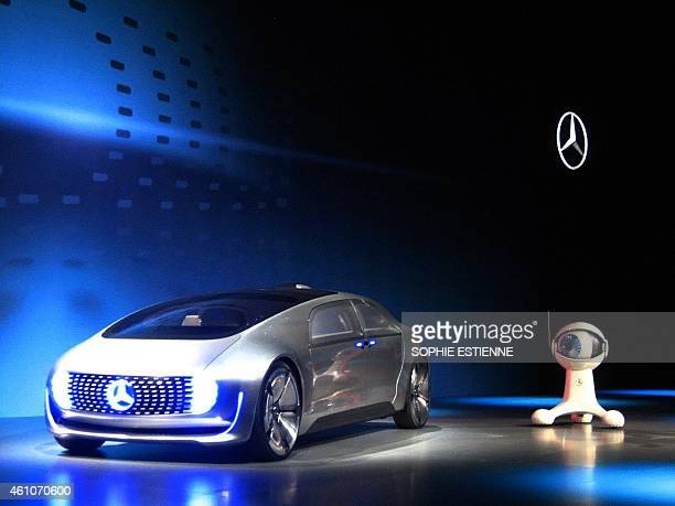 The Mercedes Benz F 015 an electric and autonomous concept car providing a vision of the automotive future is introduced at the keynote speech by...