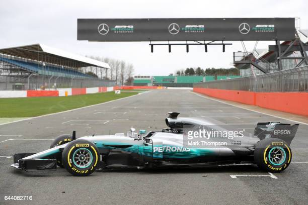 The Mercedes formula one team unveil their 2017 car the W08 at Silverstone Circuit on February 23 2017 in Northampton England