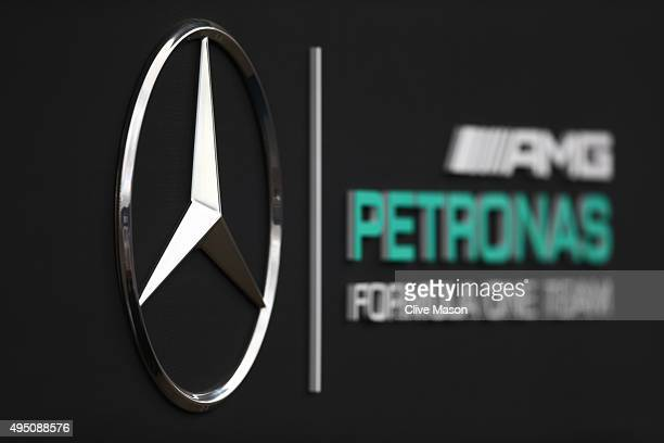 The Mercedes garage is seen prior to qualifying for the Formula One Grand Prix of Mexico at Autodromo Hermanos Rodriguez on October 31 2015 in Mexico...