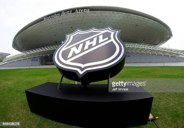 The MercedesBenz Arena where the Vancouver Canucks and LA Kings will play an NHL preseason game September 19 2017 in Shanghai China The Vancouver...