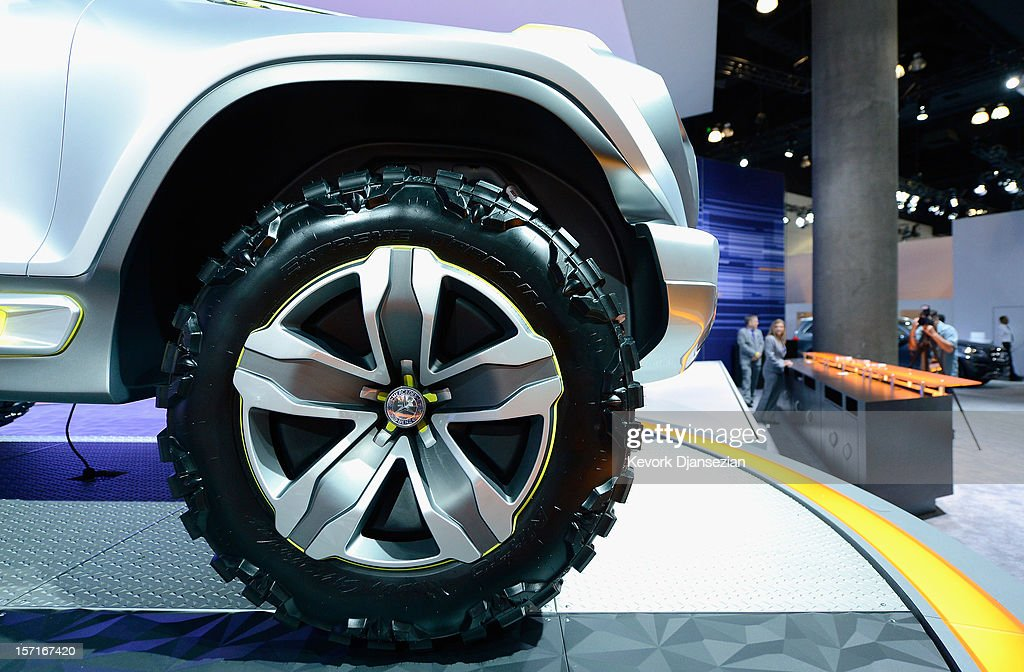 The Mercedes-Benz Ener-G-Force concept car's large front wheel is seen during the Los Angeles Auto show on November 29, 2012 in Los Angeles, California. The LA Auto Show opens to the public on November 30 and runs through December 9.