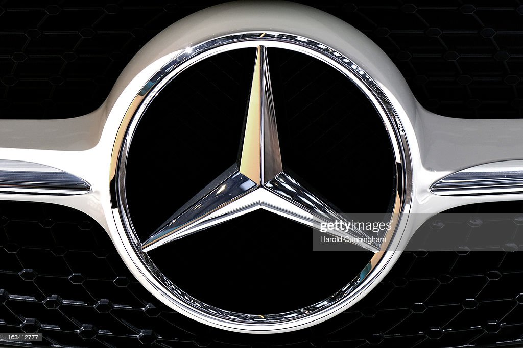 The MercedesBenz logo is seen during the 83rd Geneva Motor Show on March 5 2013 in Geneva Switzerland Held annually with more than 130 product...