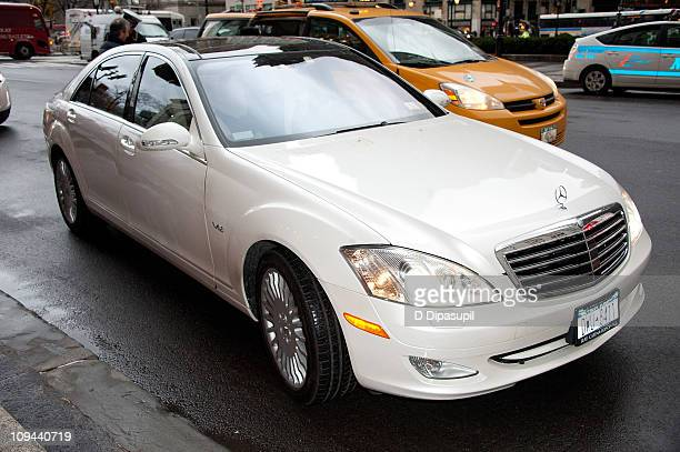 The MercedesBenz sedan used to transport Kelsey Grammer and Kayte Walsh to their wedding reception at The Plaza Hotel on February 25 2011 in New York...