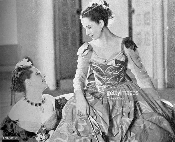 'The Merchant of Venice' by William Shakespeare with Angela Baddeley as Nerissa and Peggy Ashcroft as Portia Act I scene II at the Queen's Theatre...
