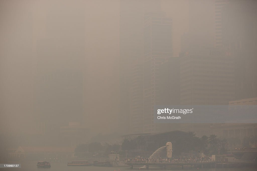 The Merlion stands as the only visible part of the Singapore Skyline as it is shrouded in thick smoke haze on June 21, 2013 in Singapore. The Pollutant Standards Index (PSI) rose to the highest level on record reaching 400 at 11am. The haze is created by deliberate slash-and-burn forest fires started by companies in neighbouring Sumatra.
