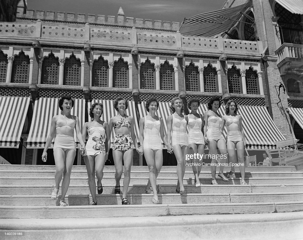 The Merriel Abbott Dancers pose in front of the Hotel Excelsior on the Venice Lido Italy 1950 They are Mitzi Hunter Marilyn Marsh Leona Irwin...