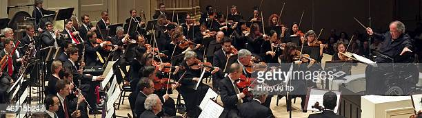 The Met Orchestra performing allMahler program at Carnegie Hall on Sunday afternoon December 22 2013This imageJames Levine leading the Met Orchestra...