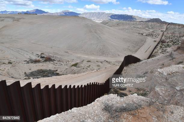 The metal fence between Mexico and the United States is seen in Puerto Anapra Chihuahua state Mexico on February 19 2017 This image is part of an...