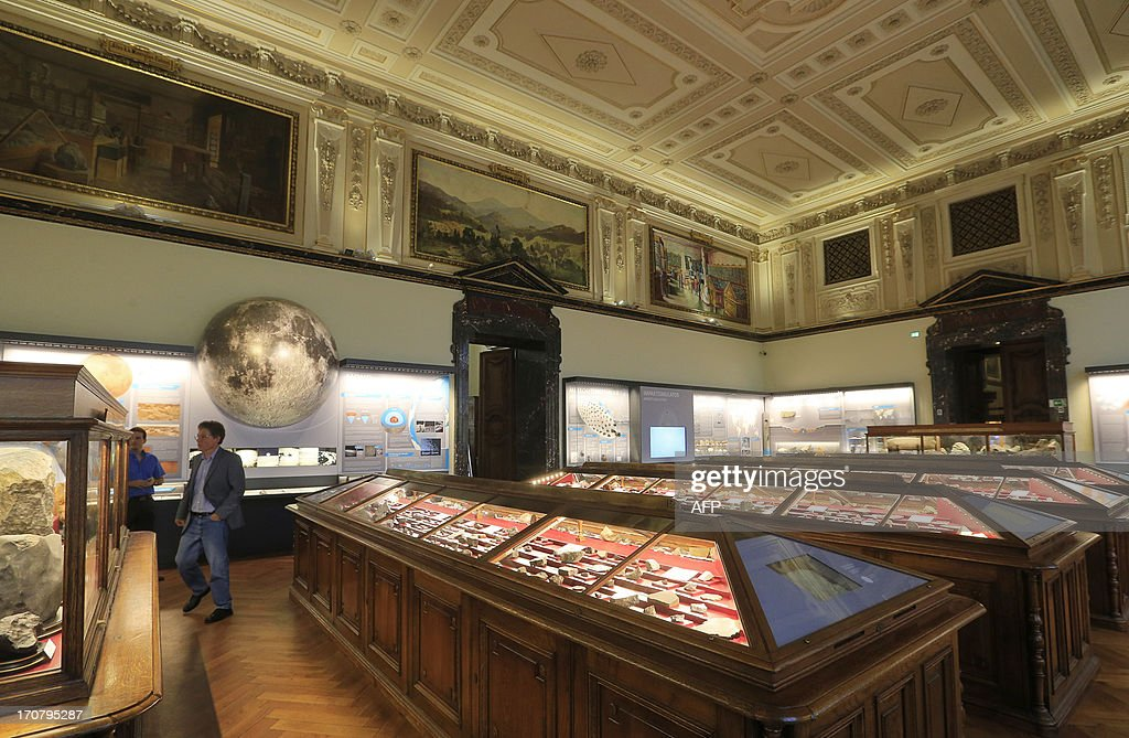 The Meteorite room of the Natural History Museum (Naturhistorisches Museum Wien NHM) is seen in Vienna on June 18, 2013. An approx. 84 grams (2.96 Oz) basalt stone and items are displayed at the museum and were brought during the 'Apollo 15' mission in 1971.