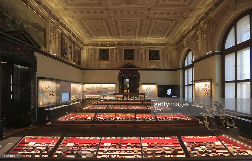 The Meteorite room of the Natural History Museum (Naturhistorisches Museum Wien NHM) is seen in Vienna on June 18, 2013. An approx. 84 grams (2.96 Oz) basalt stone and items are displayed at the museum and were brought during the 'Apollo 15' mission in 1971. AFP PHOTO / ALEXANDER KLEIN