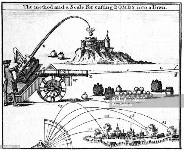 'The method and a scale for casting bombs into a town' 1748 A print from the Universal Magazine 1748