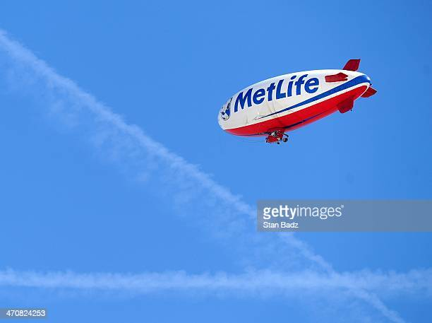 The MetLife Snoopy Two blimp provides aerial coverage during the second round of the World Golf ChampionshipsAccenture Match Play Championship at The...