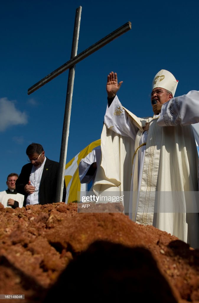 The Metropolitan Archbishop of Rio de Janeiro, Dom Orani Tempesta, blesses the place where an altar is to be constructed for the Pope to celebrate mass during the July 27 and 28 visit and in the framework of the World Youth Day, in a farm in Guaratiba, western Rio de Janeiro, on February 19, 2013. According to official sources, about three million people are expected to attend the event.