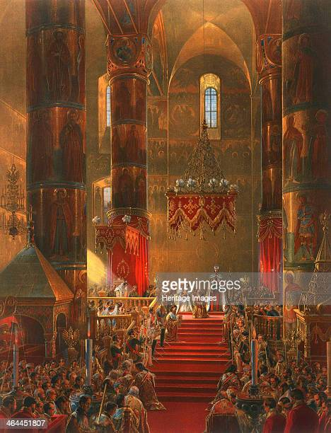The Metropolitan genuflects at the coronation ceremony of Tsar Alexander II Moscow 1856 The coronation of Emperor Alexander II and Empress Maria...