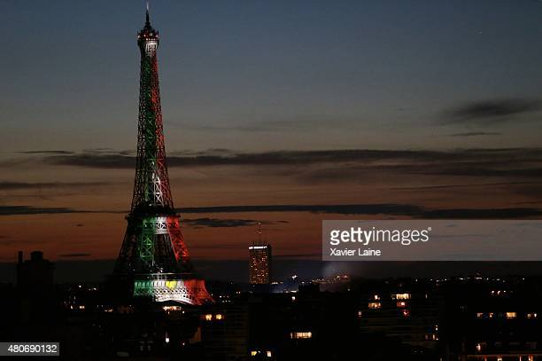 The Mexican flag lights the Eiffel Tower in honor of the Mexican president Enrique Pena Nieto's visit in Paris before the fireworks during France's...