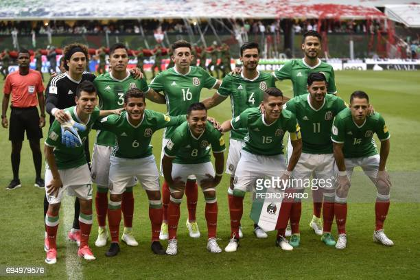 The Mexican national football team poses for pictures before the start of the 2018 World Cup Concacaf qualifier football match against the US in...