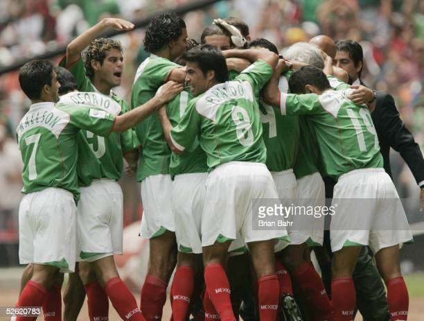 The Mexican national team celebrates a goal against the USA during their 2006 FIFA World Cup qualifying match against Mexico on March 27 2005 at...