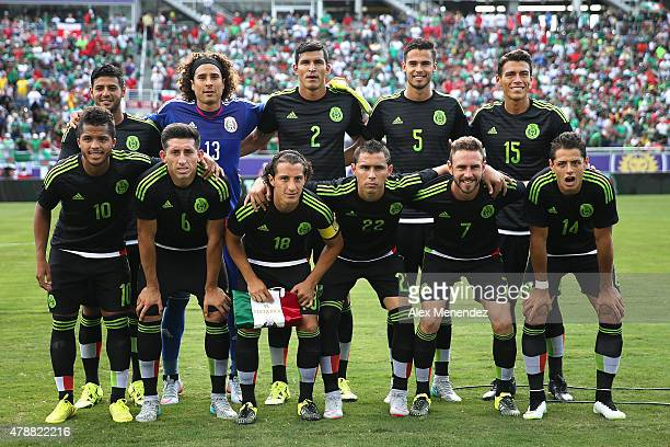 The Mexican national team lineup is seen prior to an international friendly soccer match between Mexico and Costa Rica at the Orlando Citrus Bowl on...
