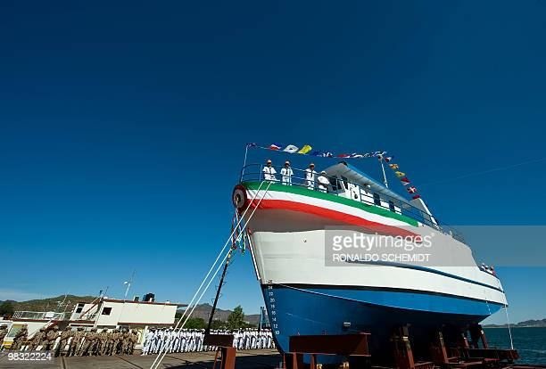 The Mexican Navy launches a boat to be used in the scientific research and development of shrimp fishing in the naval port of Guaymas Sonora State on...