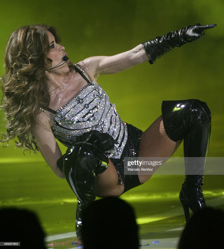 The Mexican singer <a gi-track='captionPersonalityLinkClicked' href=/galleries/search?phrase=Gloria+Trevi&family=editorial&specificpeople=213560 ng-click='$event.stopPropagation()'>Gloria Trevi</a> performs at the stage of the Quinta Vergara during the 53rd International Festival of Song of Viña del Mar on March 01, 2013 in Vina del Mar, Chile.