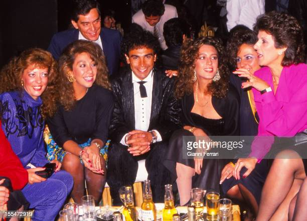 The Mexican soccer player Hugo Sanchez of Real Madrid with a group of women at a party Madrid Castilla La Mancha Spain