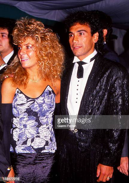 The Mexican soccer player of Real Madrid Hugo Sanchez and wife Madrid Castilla La Mancha Spain
