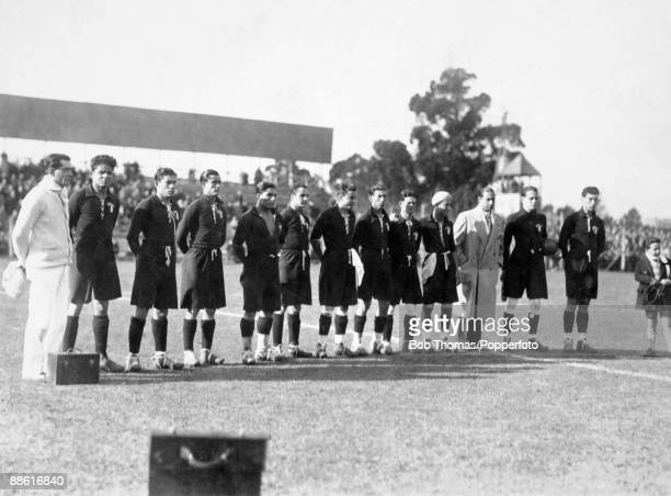 The Mexican team line up before their FIFA World Cup match against France at the Parque Central in Montevideo 13th July 1930 France won 41
