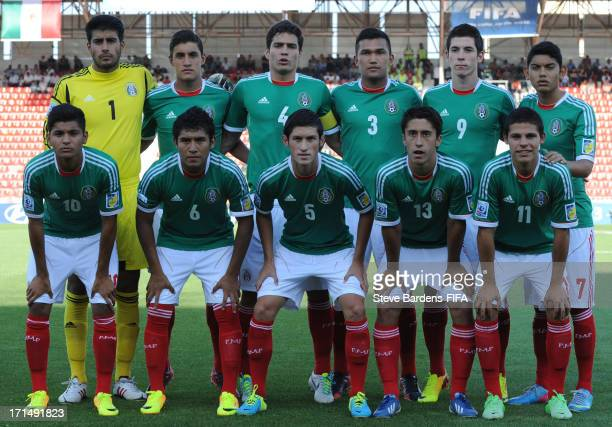 The Mexico players pose for a team photograph before the FIFA U20 World Cup Group D match between Mexico and Paraguay at Kamil Ocak Stadium on June...