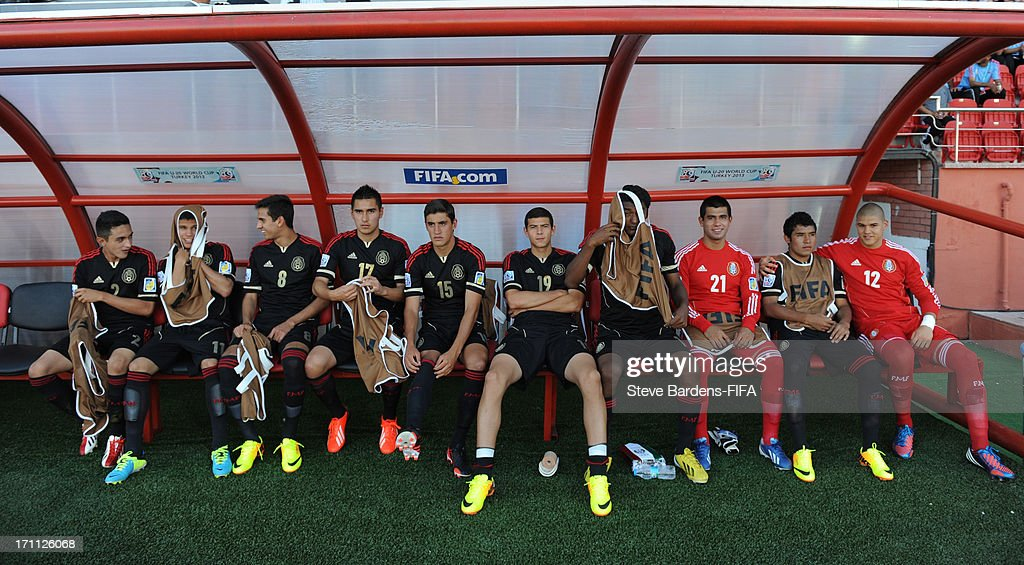 The Mexico substitutes before the FIFA U20 World Cup Group D match between Mexico and Greece at Kamil Ocak Stadium on June 22, 2013 in Gaziantep, Turkey.