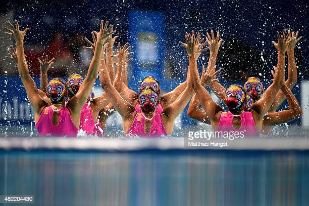 The Mexico team compete in the Women's Team Free Synchronised Swimming Preliminary on day four of the 16th FINA World Championships at the Kazan...