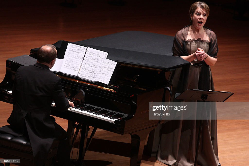 The mezzo-soprano Bernarda Fink, accompanied by Anthony Spiri on piano, performing the songs by Schumann, Mahler and Dvorak at Alice Tully Hall on Wednesday night, November 14, 2012.