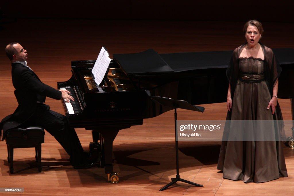 The mezzo-soprano Bernarda Fink, accompanied by Anthony Spiri on piano, performing the songs by Schumann, Mahler and Dvorak at Alice Tully Hall on Wednesday night, November 14, 2012.
