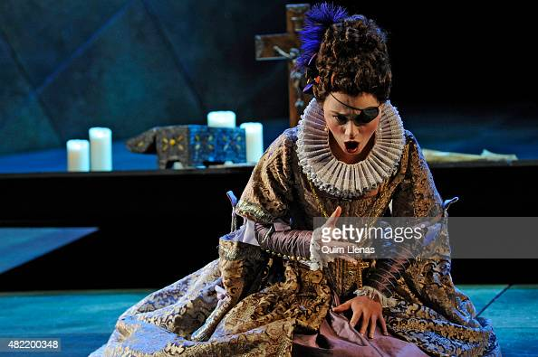 The mezzosoprano Ketevan Klemoklidze performs during the dress rehearsal of the opera 'Don Carlo' by Giuseppe Verdi on stage at the Auditorium of San...