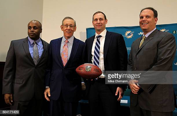 The Miami Dolphins owner Stephen Ross and Executive vice president of football operations Mike Tannenbaum announce Adam Gase as their new head coach...