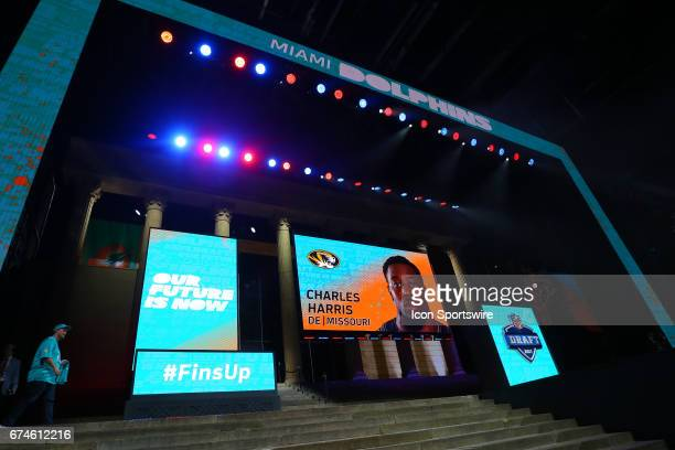 The Miami Dolphins select Charles Harris from Missouri with the 22nd pick at the 2017 NFL Draft at the NFL Draft Theater on April 27 2017 in...
