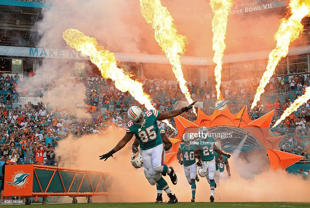 The Miami Dolphins takes the field during a game against the San Francisco 49ers on November 27, 2016 in Miami Gardens, Florida.