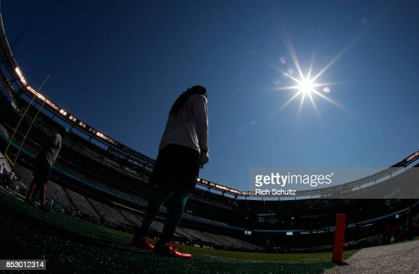 The Miami Dolphins warmup before a game against the New York Jets at MetLife Stadium on September 24 2017 in East Rutherford New Jersey