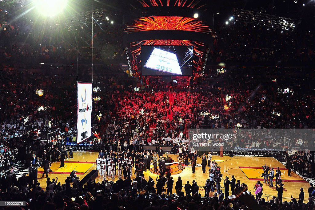 The Miami Heat 2012 NBA Championship banner is raised during a ceremony prior to the game against the Boston Celtics on October 30, 2012 at American Airlines Arena in Miami, Florida.