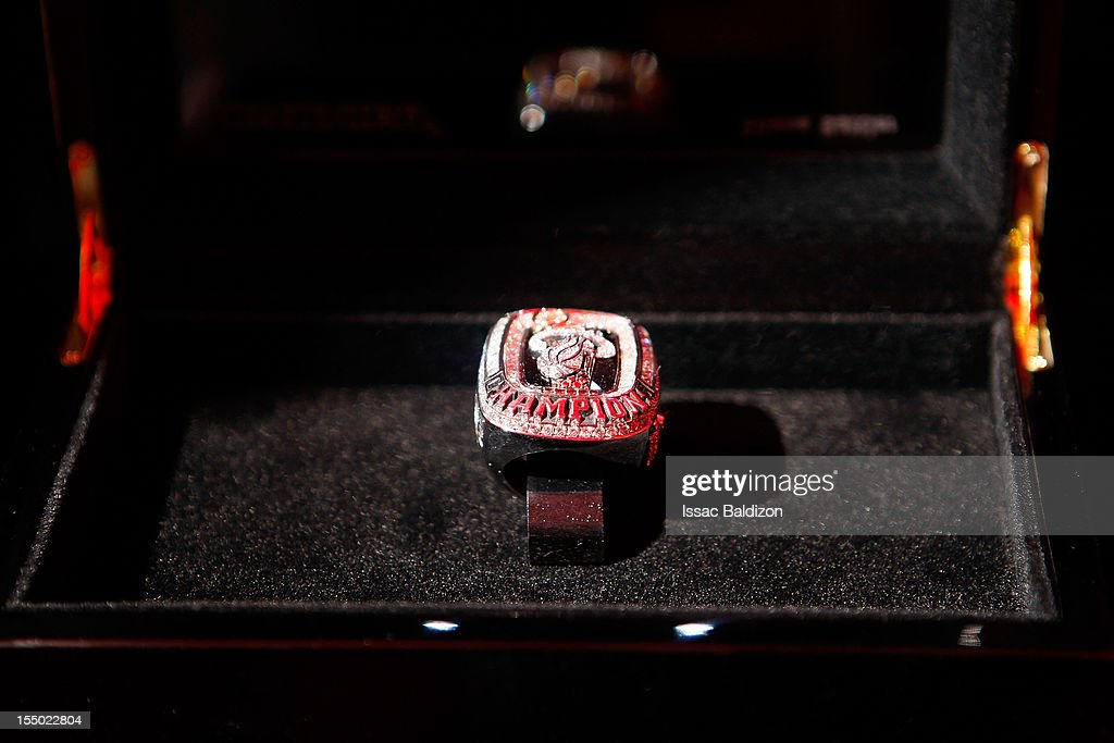 The Miami Heat 2012 NBA Championship ring on October 30, 2012 at American Airlines Arena in Miami, Florida.