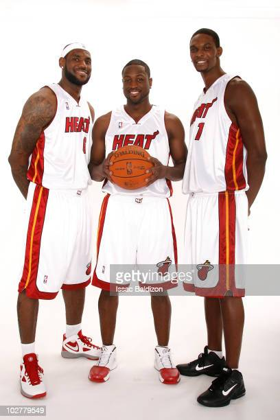 The Miami Heat announce the return of Dwyane Wade and welcome LeBron James and Chris Bosh on July 9 2010 at American Airlines Arena in Miami Florida...