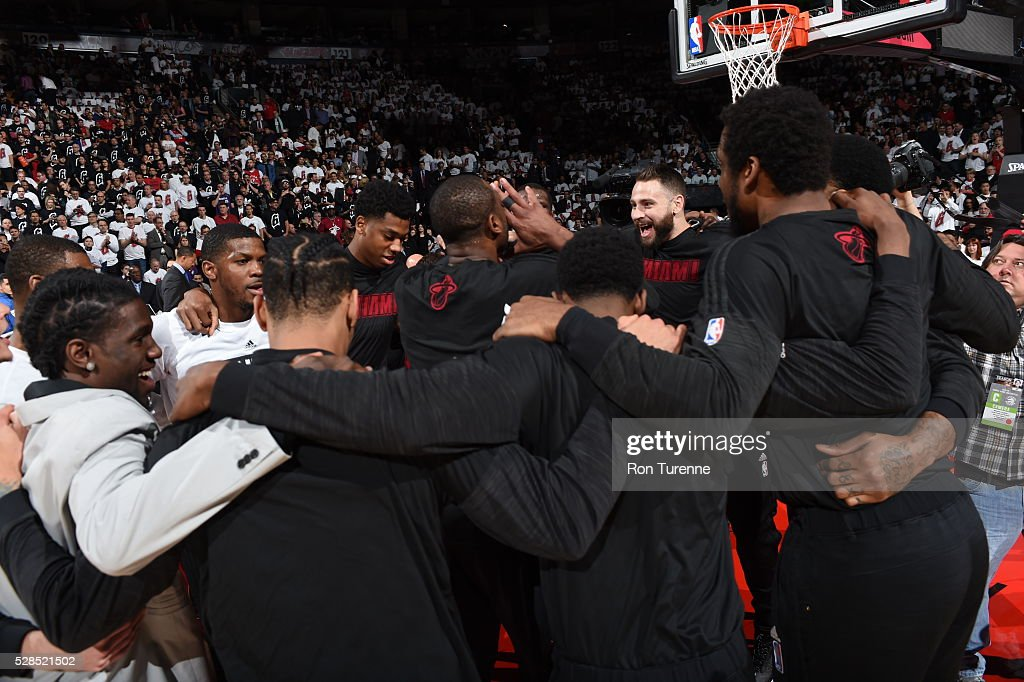 The Miami Heat are seen before the game against the Toronto Raptors in Game Two of the Eastern Conference Semifinals on May 5, 2016 at the Air Canada Centre in Toronto, Ontario, Canada.