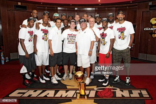The Miami Heat celebrate the 2013 Championship after the Parade of Champions down Biscayne Boulevard on June 24 2013 at American Airlines Arena in...