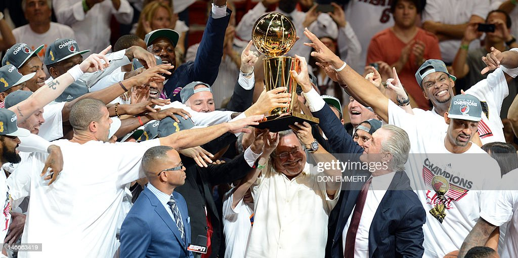 The Miami Heat celebrate their victory in the NBA Finals after the NBA Finals game between the Miami Heat and the Oklahoma City Thunder June 21, 2012 at the American Airlines Arena in Miami, Florida. Miami won the series 4-1.