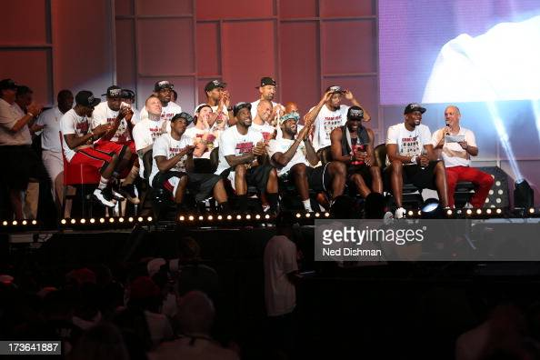 The Miami Heat celebrates during the rally for seasonticket holders at the American Airlines Arena after their NBA championship parade through...