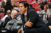 The Miami Heat head coach Erik Spoelstra watches the game against the Atlanta Hawks on October 14 2014 at AmericaAirlines Arena in Miami Florida NOTE...