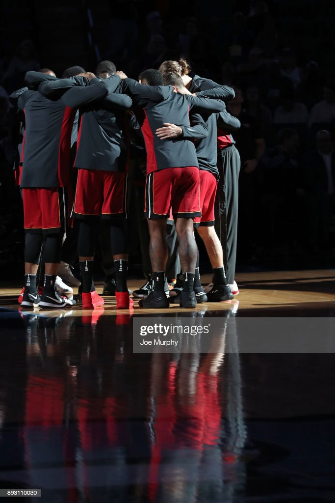 The Miami Heat huddle before the game against the Memphis Grizzlies on December 11, 2017 at FedExForum in Memphis, Tennessee.