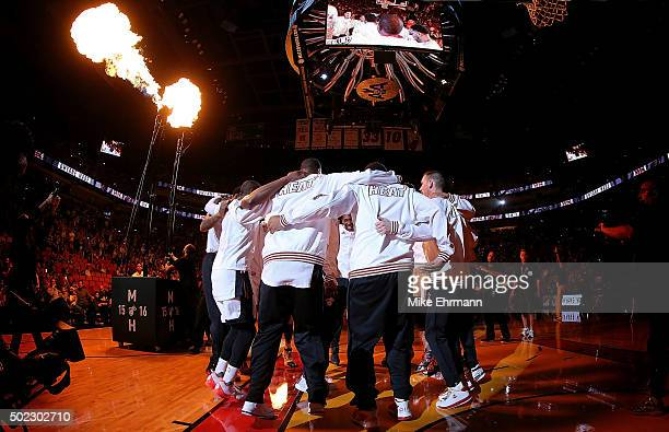 The Miami Heat huddle during a game against the Detroit Pistons at American Airlines Arena on December 22 2015 in Miami Florida NOTE TO USER User...
