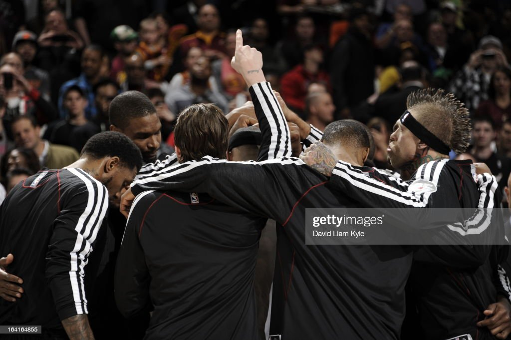 The Miami Heat huddle together prior to the game against the Cleveland Cavaliers at The Quicken Loans Arena on March 20, 2013 in Cleveland, Ohio.