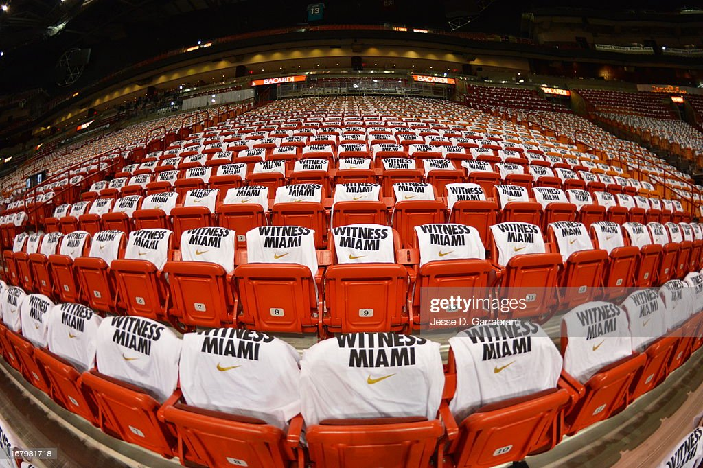 The Miami Heat lay out t-shirts for the fans to wear during the game against the Milwaukee Bucks in Game One of the Eastern Conference Quarterfinals during the 2013 NBA Playoffs on April 21, 2013 at AmericanAirlines Arena in Miami, Florida.